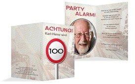 Geburtstagseinladungskarte Begrenzungsschild 100 Foto - Braun (K20)