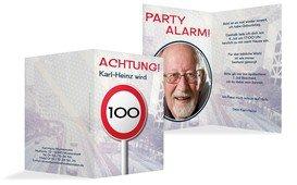 Geburtstagseinladungskarte Begrenzungsschild 100 Foto - Dunkelblau (K20)