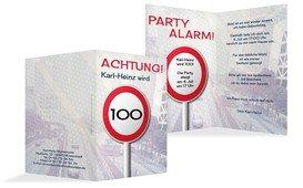 Geburtstagseinladungskarte Begrenzungsschild 100 - Dunkelblau (K20)