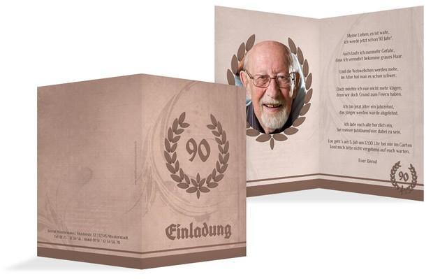 Einladungskarte Geburtstag Lorbeerkranz 90 Foto