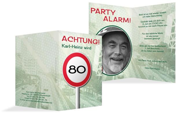 Geburtstagseinladungskarte Begrenzungsschild 80 Foto