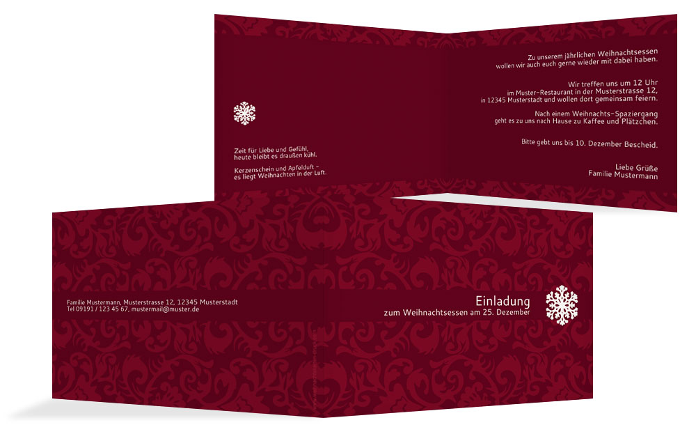 weihnachtskarte einladung privat flocke kartenmanufaktur. Black Bedroom Furniture Sets. Home Design Ideas