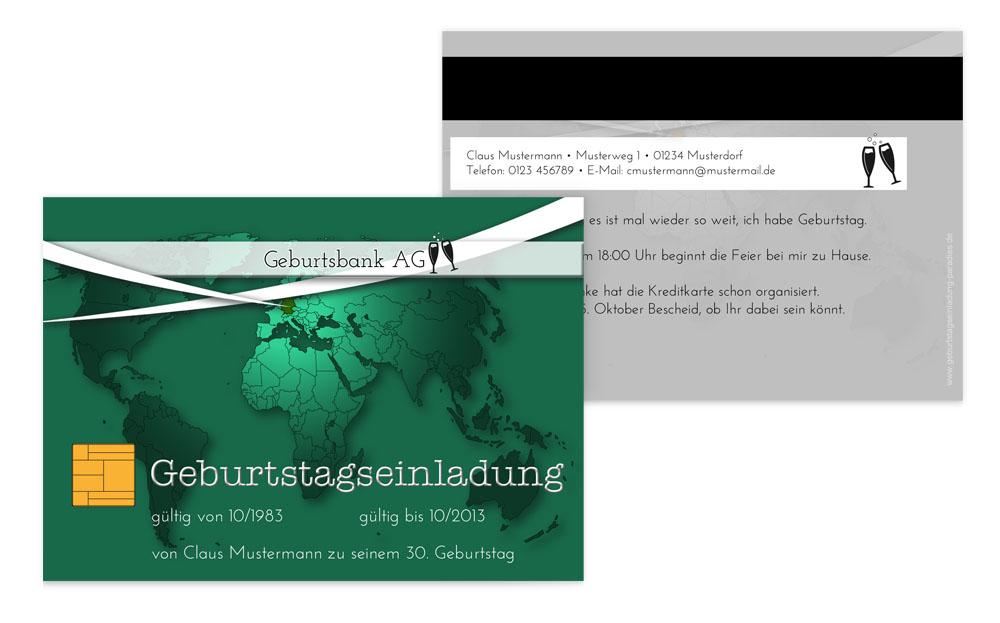 Einladungskarte Geburtstag Kreditkarte   Kartenmanufaktur