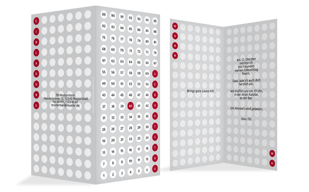 geburtstagskarte zahlenspiel 40 kartenmanufaktur. Black Bedroom Furniture Sets. Home Design Ideas