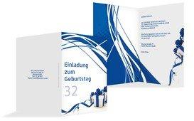 Geburtstagseinladung Schleifenband - Blau (K20)