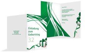 Geburtstagseinladung Schleifenband - Grün (K20)