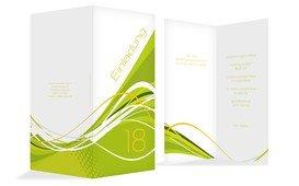 Einladungskarte Geburtstag Welle 18 - Grün (K35)