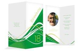 Einladungskarte Geburtstag Welle 18 Foto - Grün (K35)