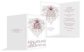 Einladung zum Geburtstag Krone 65 - Pink (K20)