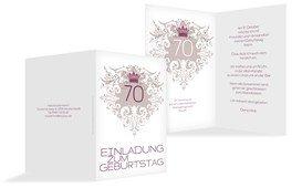 Einladung zum Geburtstag Krone 70 - Pink (K20)
