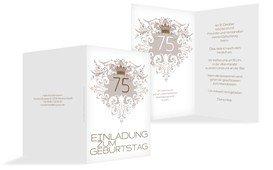 Einladung zum Geburtstag Krone 75 - Braun (K20)