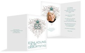 Einladung zum Geburtstag Krone 65 Foto - Grün (K20)
