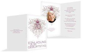 Einladung zum Geburtstag Krone 70 Foto - Pink (K20)