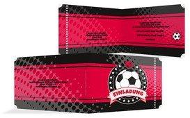 Geburtstag Einladungskarte Fussballstar 18 - Rot (K19)