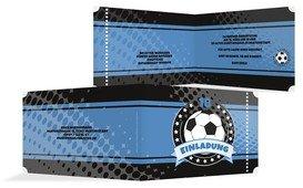 Geburtstag Einladungskarte Fussballstar 18 - Blau (K19)