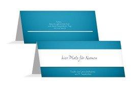 Tischkarte zur Taufe Chi-Rho - Blau (K32)