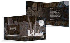 Einladung zum Geburtstag City Lights 50 - Blau (K24)
