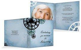 Einladung zum Geburtstag Schöne Zeit Foto 70 - Blau (K24)
