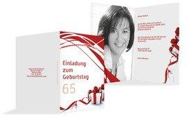 Geburtstagseinladung Schleifenband Foto 65 - Rot (K20)