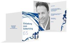 Geburtstagseinladung Schleifenband Foto 65 - Blau (K20)