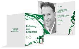 Geburtstagseinladung Schleifenband Foto 65 - Grün (K20)