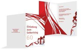 Geburtstagseinladung Schleifenband 60 - Rot (K20)