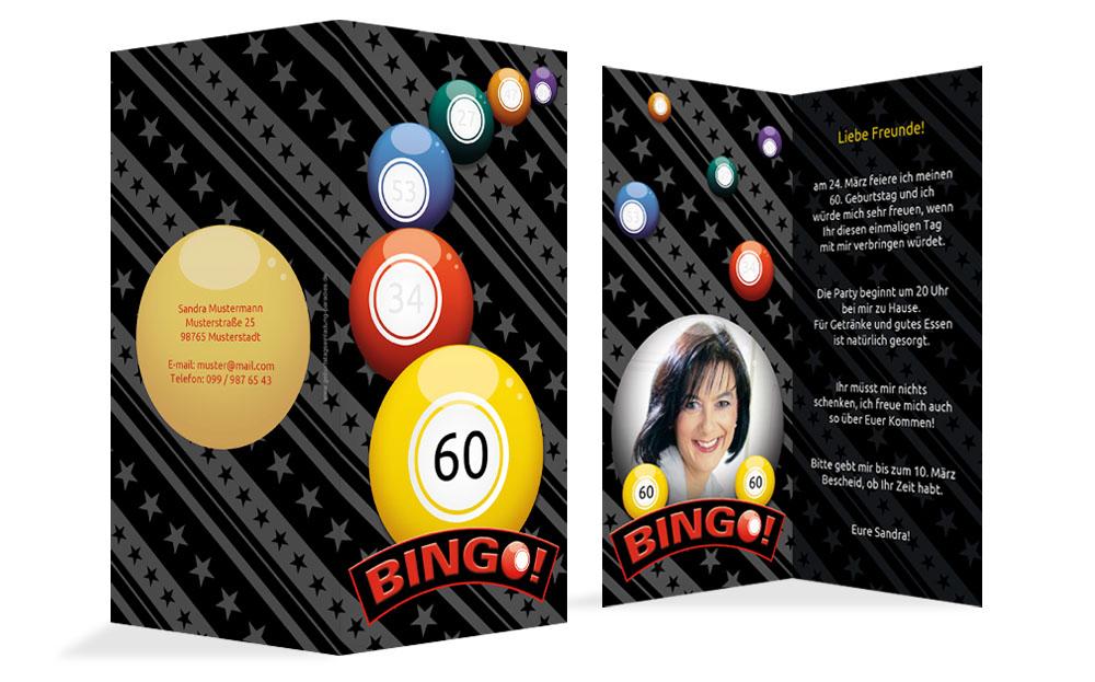einladung zum geburtstag bingo 60 foto kartenmanufaktur. Black Bedroom Furniture Sets. Home Design Ideas