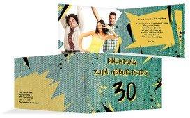 Einladung zum Geburtstag Jeans Style 30 Foto - Grün (K19)
