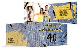 Einladung zum Geburtstag Jeans Style 40 Foto - Blau (K19)