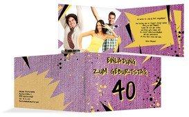 Einladung zum Geburtstag Jeans Style 40 Foto - Pink (K19)