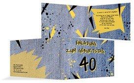 Einladung zum Geburtstag Jeans Style 40 - Blau (K19)