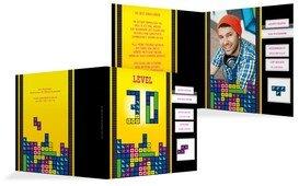 Einladung zum Geburtstag 8bit Game 30 Foto - Gelb (K24)