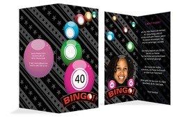 Einladung zum Geburtstag Bingo 40 Foto - Pink (K35)