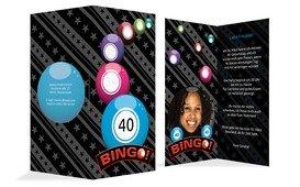 Einladung zum Geburtstag Bingo 40 Foto - Blau (K35)