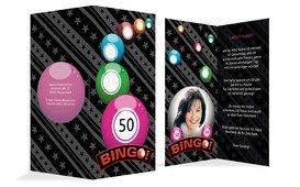 Einladung zum Geburtstag Bingo 50 Foto - Pink (K35)