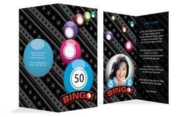 Einladung zum Geburtstag Bingo 50 Foto - Blau (K35)