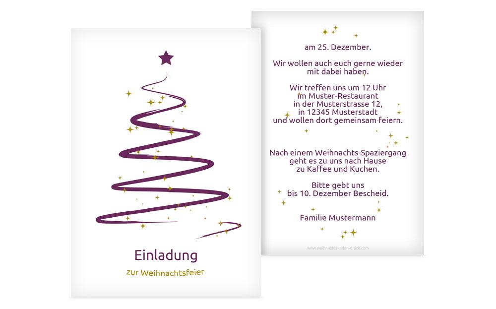 Toll Einladungskarte Weihnachten Privat Wunderbaum