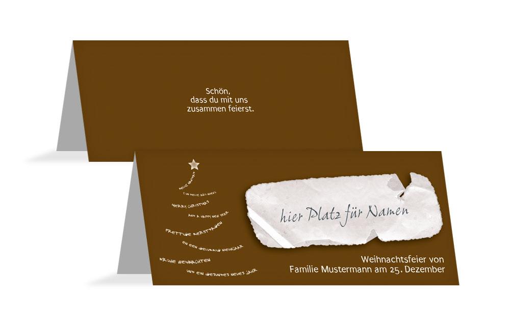 tischkarte zur weihnachtsfeier schriftbaum kartenmanufaktur. Black Bedroom Furniture Sets. Home Design Ideas