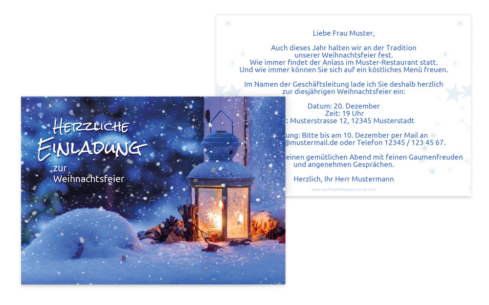 einladung weihnachten gesch ft laterne kartenmanufaktur. Black Bedroom Furniture Sets. Home Design Ideas
