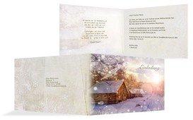 Weihnachtseinladung Geschäftlich Schneehütte - Gelb (K19)