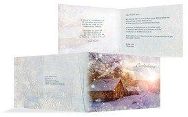 Weihnachtseinladung Geschäftlich Schneehütte - Hellblau (K19)
