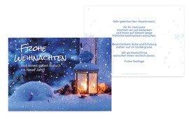 Grußkarte Weihnachten Geschäft Laterne - Blau (K25)