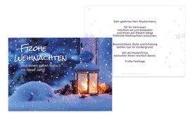 Grußkarte Weihnachten Geschäft Laterne - Lila (K25)