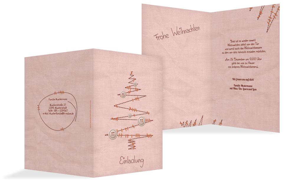 einladung weihnachten privat nahtbaum kartenmanufaktur. Black Bedroom Furniture Sets. Home Design Ideas