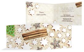 Weihnachts Grußkarte privat Plätzchentisch - Braun (K19)