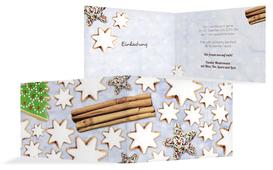 Weihnachts Einladungskarte privat Plätzchentisch - Hellblau (K19)