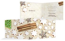 Weihnachts Einladungskarte privat Plätzchentisch - Braun (K19)