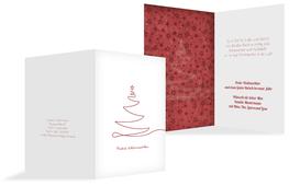 Weihnachts Grußkarte privat Linienbaum - Rot (K20)