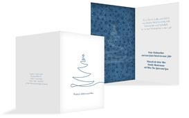 Weihnachts Grußkarte privat Linienbaum - Blau (K20)