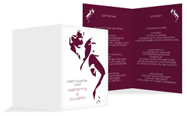 Menükarte Hochzeit Tango - Rot (K38)